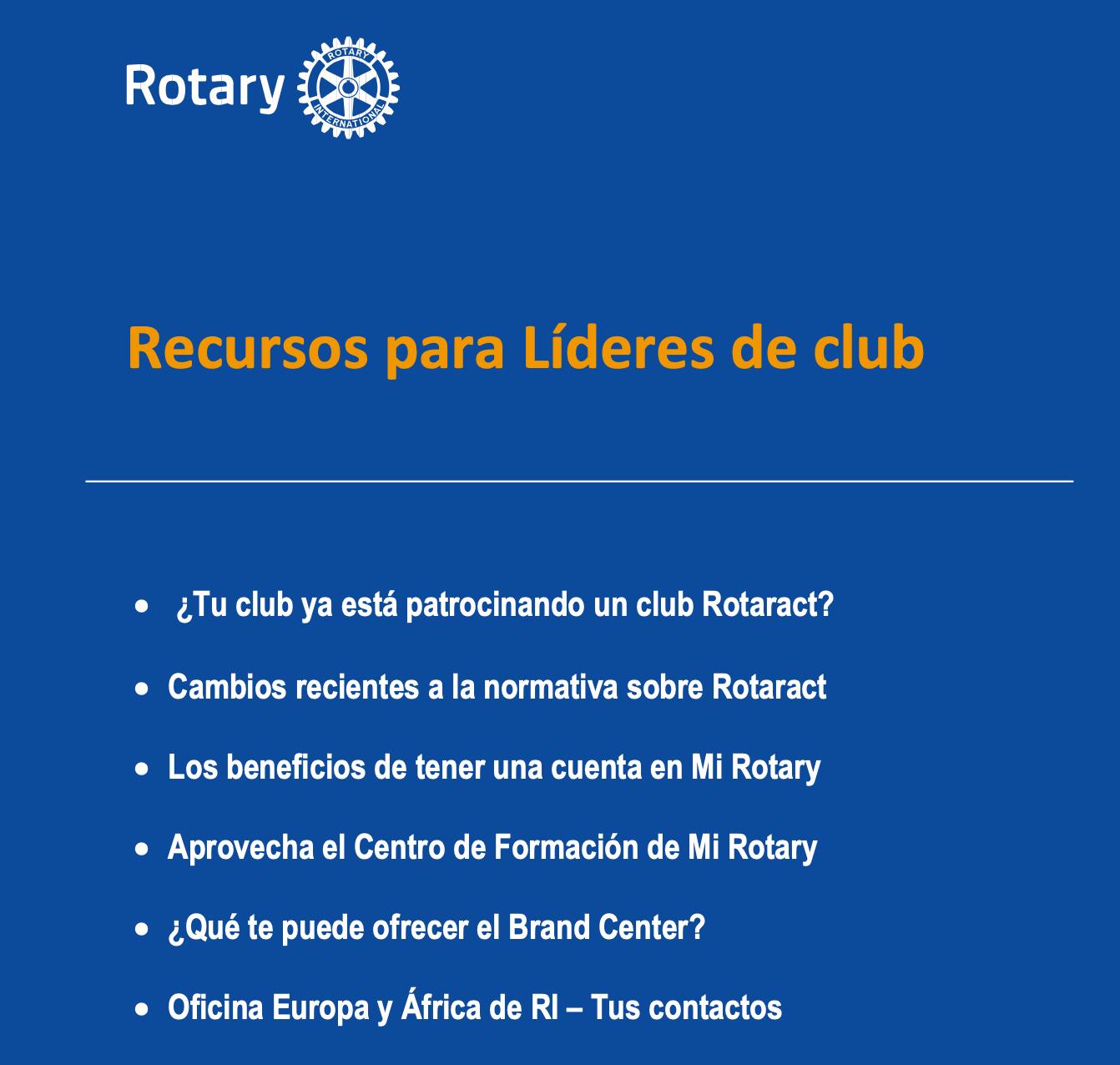 Información para los nuevos presidentes y secretarios de los clubs