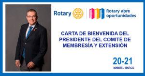 CARTA DE BIENVENIDA DEL PRESIDENTE DEL COMITÉ DE MEMBRESÍA Y EXTENSIÓN.
